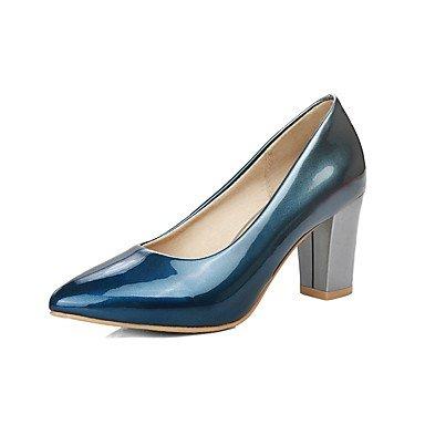 SANMULYH Scarpe Donna Similpelle Estate Tacchi Chunky Tallone Punta Appuntita Per Abbigliamento Casual Viola Rosso Verde Blu Blue