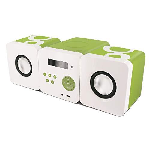 Metronic 477180 Gulli Micro Chaine/Lecteur CD/12W/Radio pour Enfant avec Port USB - Vert et Blanc
