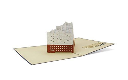Architektur Hamburger Elbphilharmonie 3D Pop-Up Karte   Musik   Einladung   Urlaub   Grußkarte mit Umschlag A06 ()