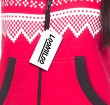 Loomiloo® Jumpsuit Freizeitanzug Overall Hausanzug Einteiler Strampler Body Anzug Jumpsuits Overalls Pyjama Norweger Muster Rot