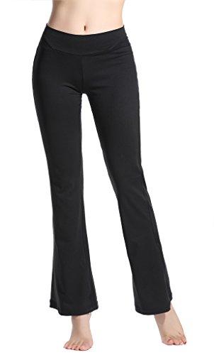 Lotus Instyle dehnbar Knöchel Länge Flare Glocke unten Yoga Pants Leggings für Frauen Gr. M, schwarz (Mädchen Flare Bottom Pant)