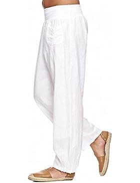 zarlena Pantalones de lino Mujer Verano Lino Pantalón