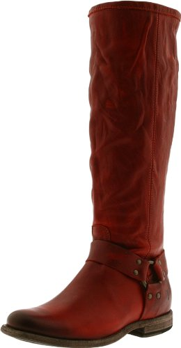 Frye Phillip Harness Tall Cuir Botte Burnt Red