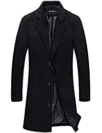 51e53d49cdc Mens Trench Coat Slim Fit Notched Collar Overcoat