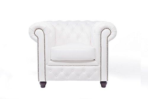 Original Chesterfield Sofas und Sessel – 1 / 2 / 3 Sitzer – Vollständig Handgewaschenes Leder – Weiß