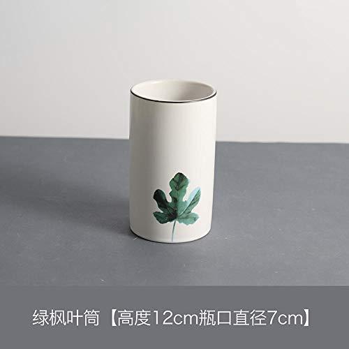 Green Maple Leaf (JIANG Dekoration Kleine frische Stift Barrel Keramik Make-up Pinsel Tube Make-up Pinsel Barrel Desktop Eyeliner Augenbrauenstift Aufbewahrungsrohr @ Green Maple Leaf)