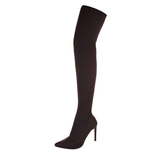 Ital-Design Overknee Stiefel Damen-Schuhe Klassischer Stiefel Pfennig-/Stilettoabsatz High Heels Stiefel Dunkelbraun, Gr 38, 15-239-