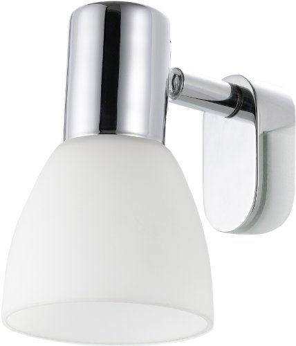 Eglo Spiegelleuchte Modell Sticker / in Stahl chromfarben und opalem Glas / HV 1 x E14 max. 40 W / exklusiv Leuchtmittel / 7 x 11.5 cm / Ausladung 9.5 cm 85832