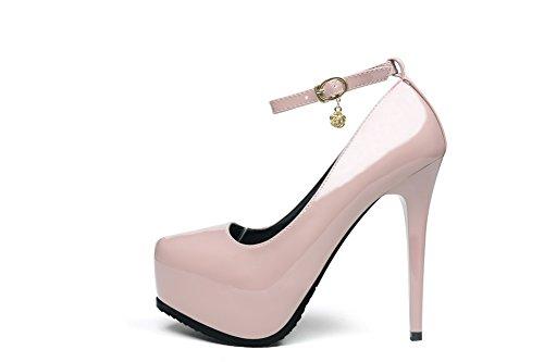 AalarDom Femme Pu Cuir Matière Souple Couleur Unie Stylet Chaussures Légeres Nu-Boucle