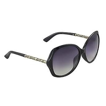 SHEK Black Bug Eye Black Lens Women Sunglasses