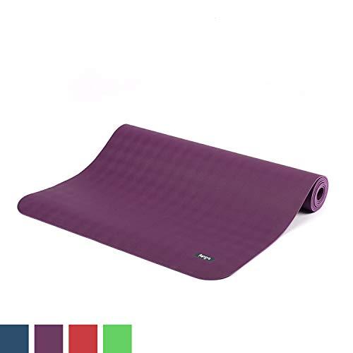 BODHI extrem rutschfeste Yogamatte ECOPRO aus 100% Natur-Kautschuk (185x60cm, 4mm stark, 1,6kg), schadstofffrei für Yoga, Pilates & Fitness, lila - Auswahl Der Einheit Der Oberfläche