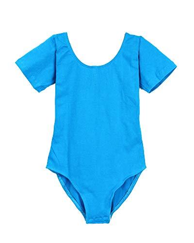 ShiFan Mädchen Ballettbody Kinder Kurzarm Langarm Ballettanzug Kostüm Trikot Gymnastikanzug Lac Bleu 1 105 (Samt Gymnastikanzug Kind Kostüm)