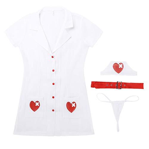Agoky Damen Krankenschwester Kostüm Sexy Cosplay Dessous Set Arzt Uniform, Gürtel, Haube und String Frauen Reizwäsche Weiß (Berufe Uniformen Kostüm)