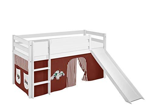 Lilokids Spielbett JELLE mit Rutsche und Vorhang Kinderbett Holz weiß 198 x 98 x 113 cm