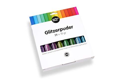 perfect ideaz 24 x 10g (240g) Glitzer-Puder-Set bunt, Glitter-Pulver in 24 Farben, Bastel-Staub in...