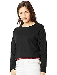 Miss Chase Women's Black Cotton Boxy Crop Sweatshirt