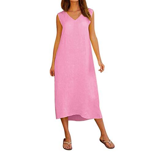 kolila Damen Holiday Sommer Beach Einfarbig V-Ausschnitt Weste Tank Langes Kleid Beiläufiges Ärmelloses Maxi Kleider Pique Mesh Fitted Cap