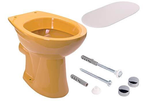 Calmwaters - Universal - Tiefspülendes Stand-WC im Set in Curry-Gelb mit Schallschutz & WC-Befestigung - 99000214