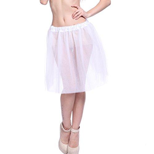 5 Layers Damen Tutu Petticoat Unterrock Tutü Tüllrock Knielang elegant Kleid Tanz (Kostüm Engel Ballett)