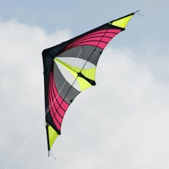 Lenkdrachen - Speedster Hot Yellow - für mittleren bis sehr kräftigen Wind - Abmessung: 170x64cm - inkl. Steuerleinen auf Winder mit Gurtschlaufen