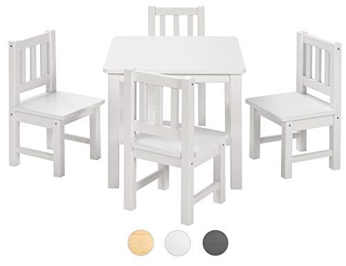BOMI Spielsitzgruppe 4 Stühlchen Baby mit Tisch Amy aus Kiefer Massiv Holz | Kinder Möbel Mädchen und Jungen | Weiss