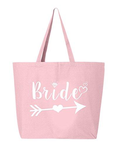 shop4ever Braut Herz Pfeil Weiß Heavy Canvas Tote Hochzeit; Wiederverwendbare Einkaufstasche 10oz Jumbo, Textil, hellrosa, 25 oz