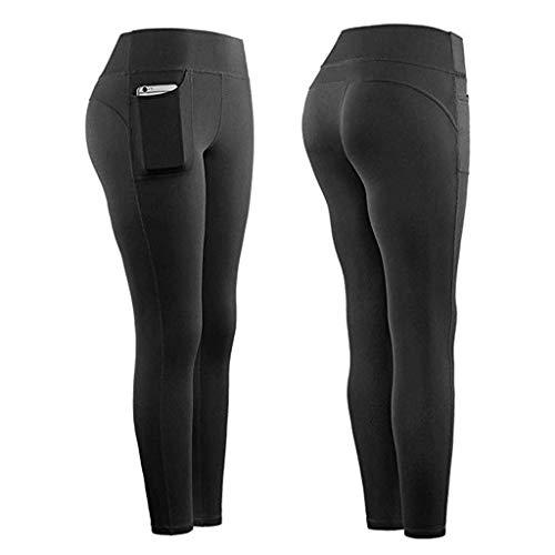 MANjia96COco Damen Leggings High Waist Sporthose Strumpfhosen Fitnesshose mit Taschen Hose für Workout Gym Jogging, Stretch Stoff Schnell Trocknet und Atmungsaktiv
