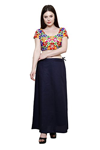 Pistaa Women's Cotton Navy Blue Colour Best Ethinic Solid Inskirt Saree petticoats