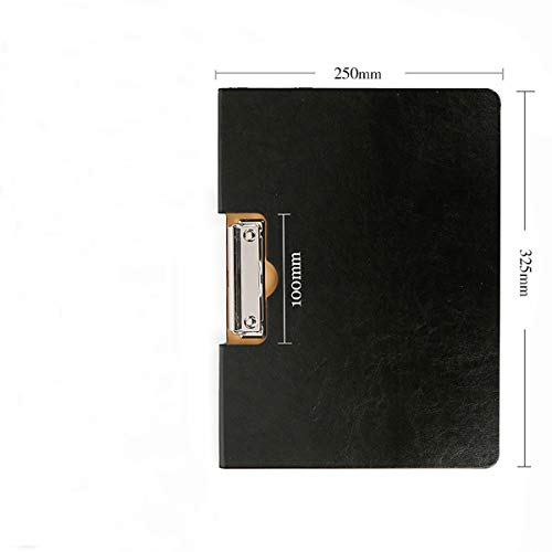 A4 Clipboard Folder Ring Binder Portfolio Writing Pad Document Foldover Organiser PP Folio (BLACK)