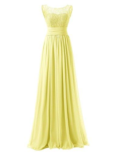 JAEDEN Damen Chiffon Ballkleider Lang Spitze Aermellose Abendkleider Festkleid Gelb