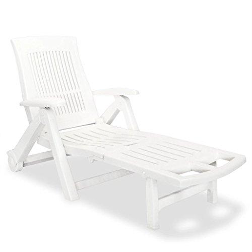 Festnight Sonnenliege Liege Gartenliege mit Fußablage Kunststoff Weiß Klappbar