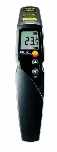 Testo 0560 8312 830-T2 Infrarot-Thermometer, 2-Punkt-Laser-Messfleckmarkierung, 12:1 Optik, einstellbare Grenzwerte, Alarmfunktion, externe Fühler anschließbar
