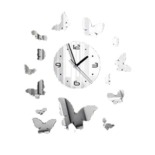 Floridivy 3D Schmetterling Spiegel Wandaufkleber DIY Acryl Mirrored Abziehbilder Wand-Uhr-Innendekoration Wallpaper