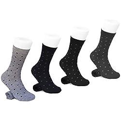 BFL 4 Pares de Calcetines Calcetines Cortos (a Media Pierna) Hombres Sling de algodón Fino y liviano Hilo escocés Estampado con Lunares