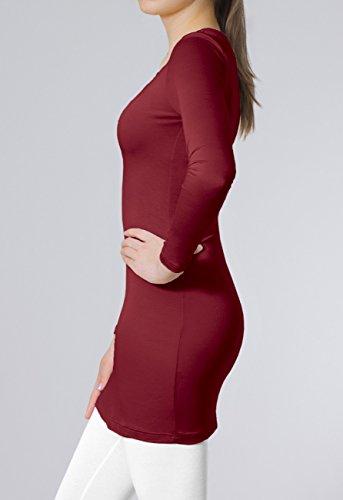 CASPAR SRT012 Damen Basic Longshirt Weinrot