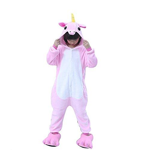 Pigiama Unicorno Kigurumi Adulto Animale Cosplay Animato Costume Camicie da Notte Carnevale Halloween Costume Tuta Animali Onesies (125(Altezza 135-144CM), dentellare)