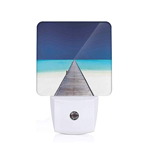 Wooden Long Jetty Over Beach Sand With Crystal Water Tropical Hawaiian Paradise Plug-in LED Night Light Lamp with Dusk to Dawn Sensor, Night Home Decor Bed Lamp