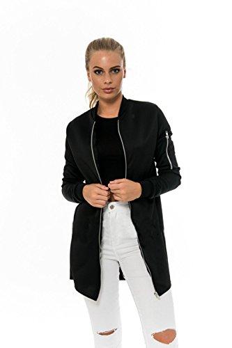 GWELL Klassische Damen Lange Bomberjacke Übergangsjacke Reißverschluss Jacke für Herbst Frühling schwarz L