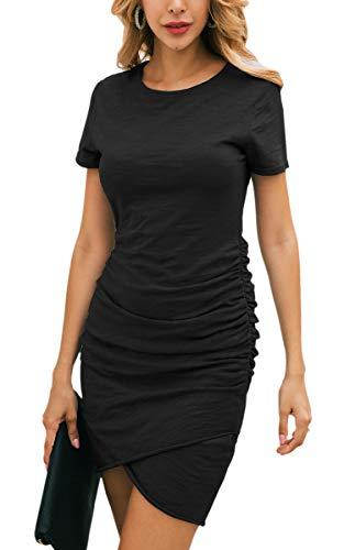 Kurzarm-schwarz-eng (ECOWISH Damen Enges Kleid Sommerkleid Rundhals Kurzarm Kleid Bodycon Unregelmäßig Minikleid Schwarz M)