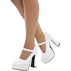 Smiffy's Smiffys-43075L Zapatos de Plataforma años 70 para Mujer, tacón de 12.7 cm, Color Blanco, EU Tamaño-39 43075L