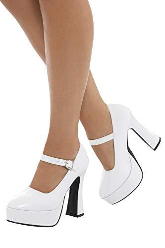 Smiffys 43075S - Damen 70er Jahre Plateau Schuhe, 12,7cm Absatz, Größe: 39,5-40,5, weiß