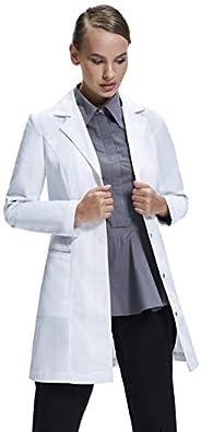 Dr. James Women's Lab Coat, Tailored Fit, Feminine Design, White, 33 Inch Le