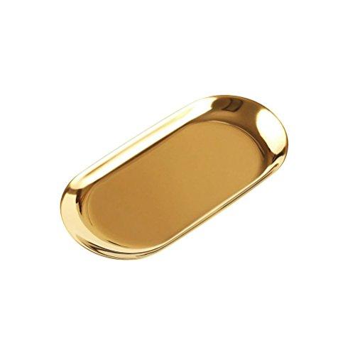BESTONZON Edelstahl Trays Foodservice Tablett servieren Party Platten Dental Medical Flat Lab Snack Handtuch Instrument Tablett Größe S (Golden) -
