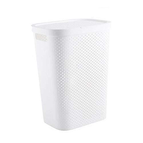 NSYNSY Groß Rechteckig Kunststoff WäSchebox,Mit Deckel WäSchetruhe Lagerung WäScheköRbe,Passend FüR Badezimmer Schlafzimmer WäSchesammler (Weiß)