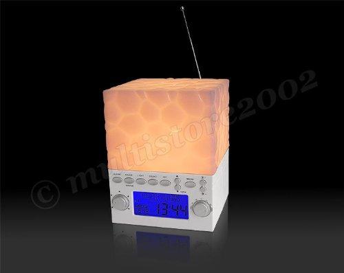 Wasser Radiowecker (Lichtwecker & Nachtlicht - wake up light mit 4 Naturklängen Radiowecker in 6 verschiedenen Farben)