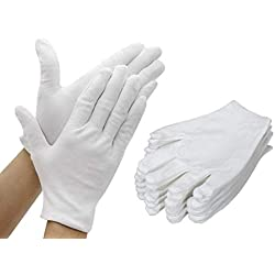 TooTaci 12 paires (24 gants) Gants en coton blanc 8,6 pouces , gant Soft Works plus épais et plus réutilisables pour l'inspection de pièces de monnaie en argent pour Parfaits pour un bijoutier - moyen