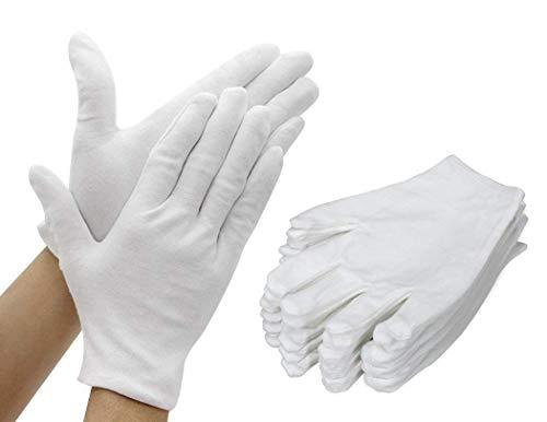 TooTaci Baumwoll-Handschuhe, 12 Paar, weiß, dicke und wiederverwendbare weiche Arbeitshandschuhe für Schmuck- und Münzenuntersuchung