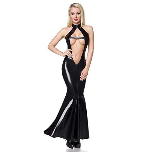 Costume Sexy da Donna Tentazione da Discoteca Abito da Prospettiva Abiti in Pelle Verniciata Nera Mermaid Dinner Hotel Show Halloween Party Cosplay,Black,M