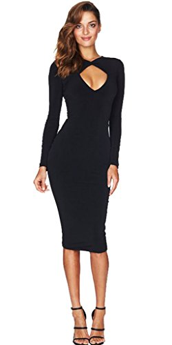 longwu-womens-sexy-deep-v-bodycon-dress-long-sleeve-cocktail-bandage-skirt-black-l