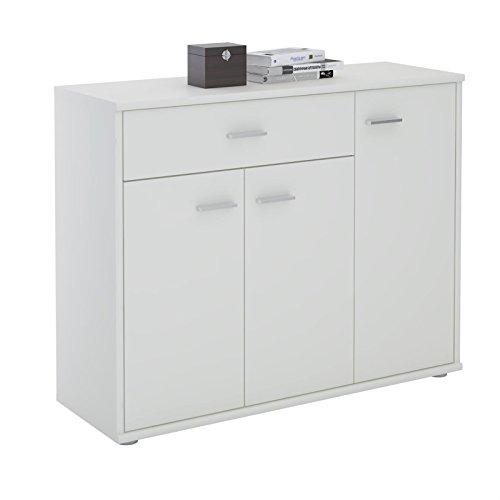 IDIMEX Buffet Coraline, Commode Meuble de Rangement avec 1 tiroir et 3 Portes, en mélaminé Blanc Mat